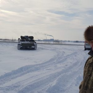 Tank Used as winter vehicle recovery, Ukraine